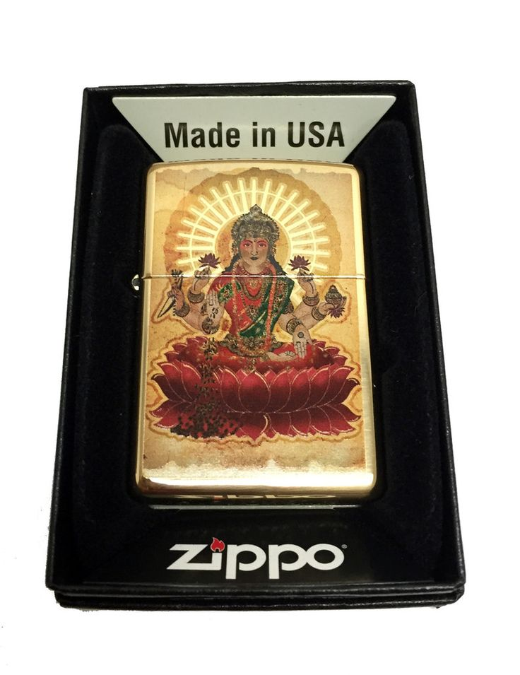 Zippo Custom Lighter - Indian Goddess Lakshmi - Regular High Polished Brass 254BCI401843
