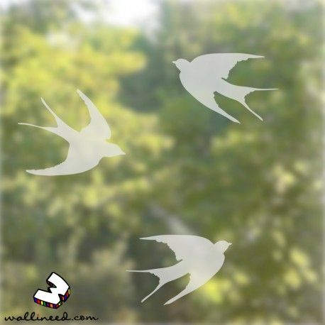 Swallow Decals Set - Etched Glass Window Decals  wallineed.com