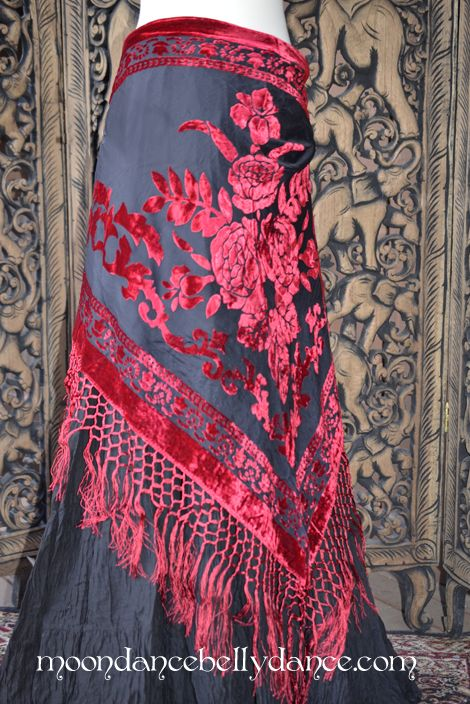 Moondance Bellydance Black Red Velvet Hip Scarf Belt