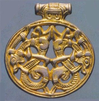 "Gold Dragon pendant in ""gripping beast"" style 9th century CE. Varby, Sweden"