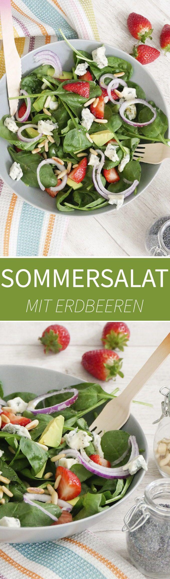 Sommersalat mit Avocado, Gorgonzola und Erdbeeren