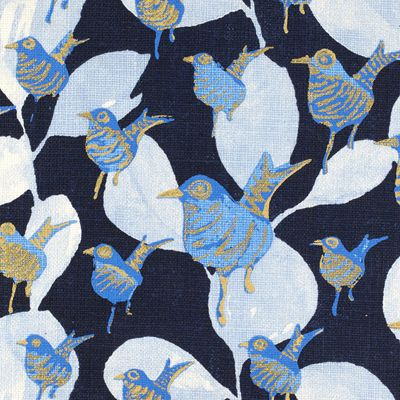 Prints Fabric - Dancers Ld Navy Birds Abstract Fabric Pattern