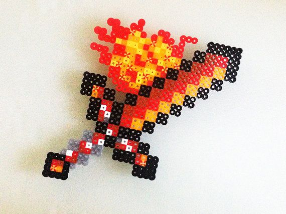 Minecraft Fire Sword made with Perler Beads