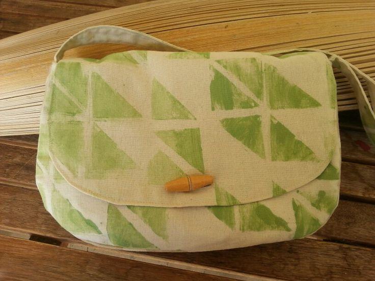 Hand printed fabric bag