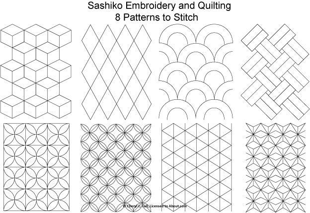 Crazy Quilt Free Template Patterns | Free Sashiko Patterns Set 1 - Patterns for Sashiko Embroidery and ...