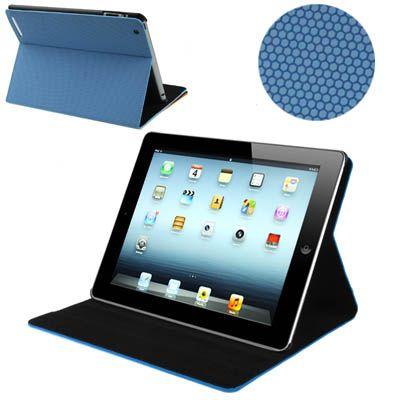 iPad 2, 3 ,4 PU Lederen Textuur case, cover, hoes blauw