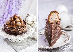 ,блинный торт с двумя видами крема и профитролями