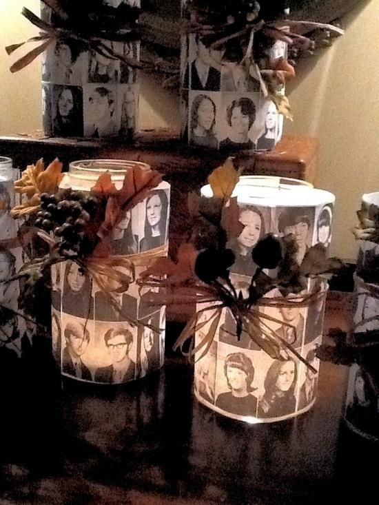 class reunion ideas | Create candles with photos of the departed classmates.