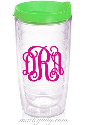 Monogrammed Clear 16oz Tumbler with Lime Lid