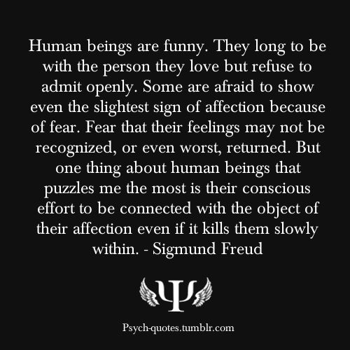Human beings are funny. They long to be with the person they love but refuse to admit openly. Some are afraid to show even the slightest sign of affection because of fear. Fear that their feelings may not be recognized, or even worst, returned. But one thing about human beings that puzzles me the most is their conscious effort to be connected with the object of their affection even if it kills them slowly within. - Sigmund Freud Be sure to follow my secondary blog here!