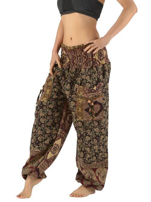 Pantalon bouffant laine femme imprimé petit cachemire à carreaux - noir - Forgotten Tribes