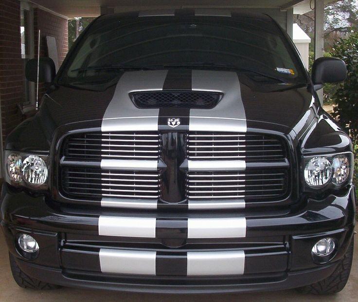 Black Dodge Ram with white racing stripe | Dodge Trucks | Pinterest | Dodge rams, Dodge ram ...