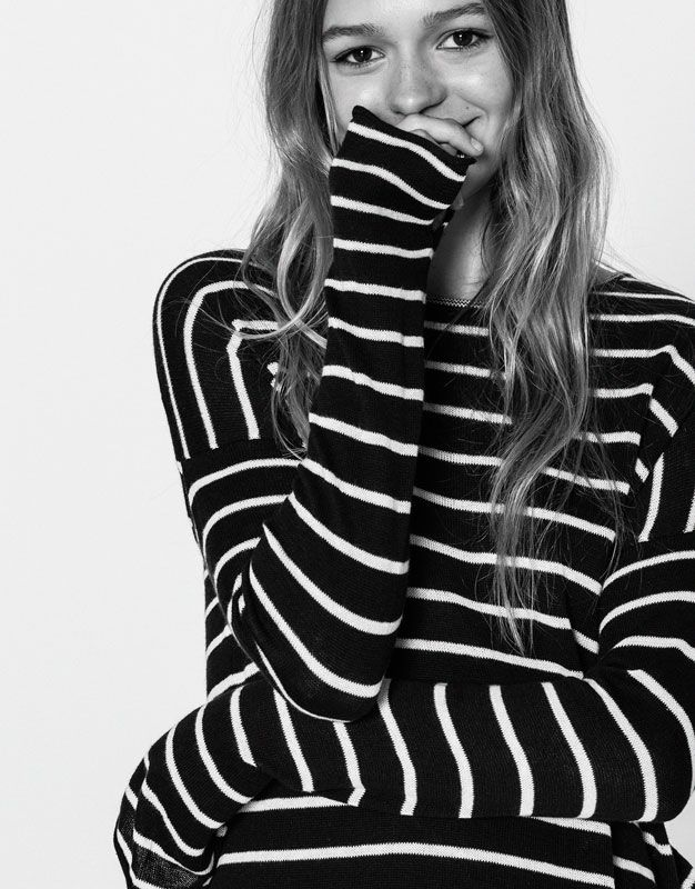 Basic striped sweater - Knit - Clothing - Woman - PULL&BEAR United Kingdom