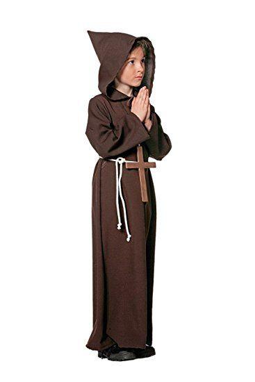 Mönch Pater Kindermönch brauner Umhang braune Kutte mit großem Kreuz 116 bis 164 (140)