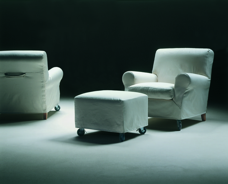 FLEXFORM NONNAMARIA armchair and ottoman, 1985.