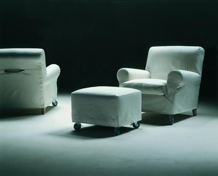 FLEXFORM NONNAMARIA armchair and ottoman, 1985.