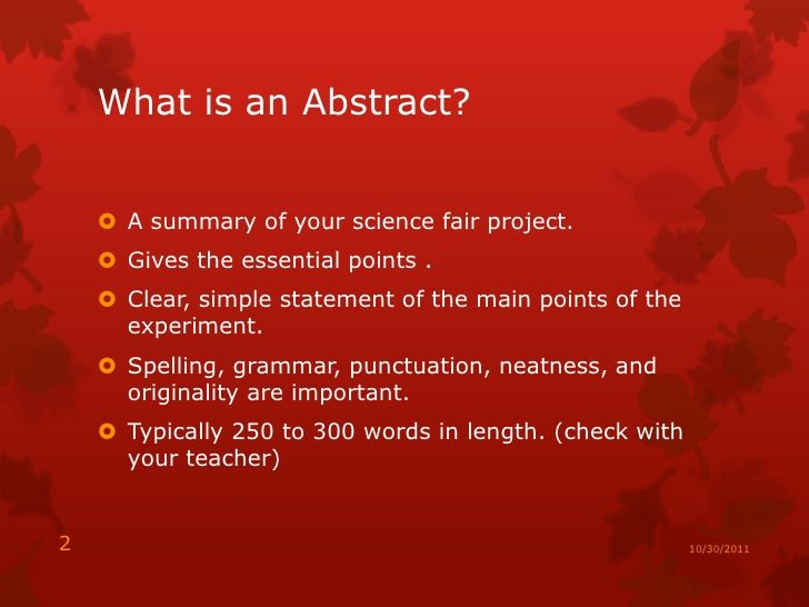 Examples of Abstracts For Science Fair Projects Your Science Fair