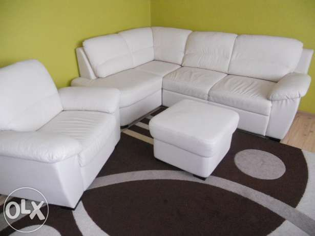 Sofa,kanapa,narożnik eko skóra kremowa z funkcją spania+ fotel+ pufa Katowice - image 2