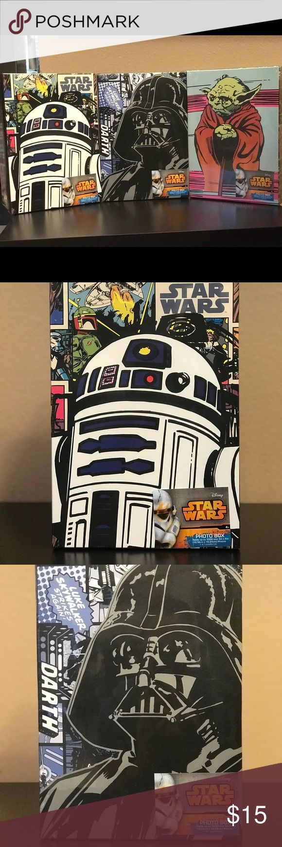 Set of 3 star wars photo storage box **New unopened box**  **Collector's Item**  Darth Vader Yoda  R2D2  $15 each $40 when bundle   This photo storage box features strong cardboard construction in a lightweight package. The amazing Star Wars graphic art covers the top and all 4 sides making this a bold and fun decorative addition to any room. The product can be used to store almost anything including up to 1000 size 4 inch x 6 inch photos. Other