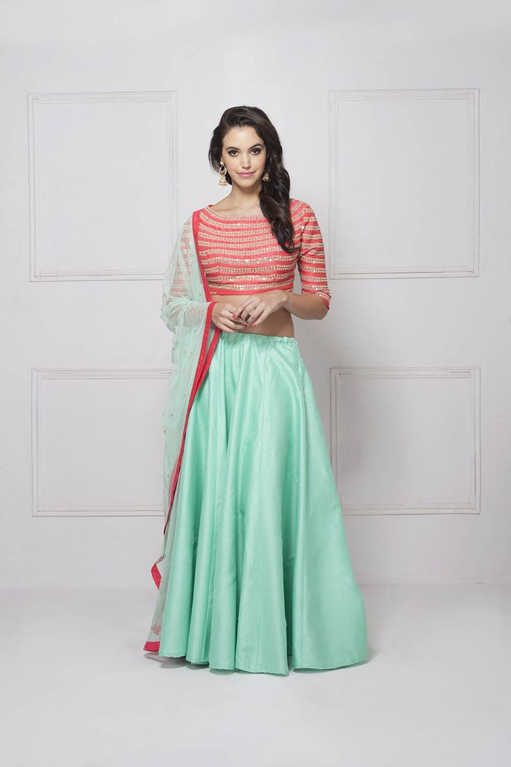 Orange and Mint Lehenga set