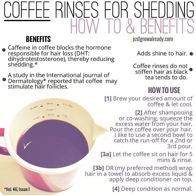 Coffee Rinses for Shedding: How to and Benefits. (Hmmm... have found the tea rinses really work but my hair does feel stiff.  Gonna give this a try!)