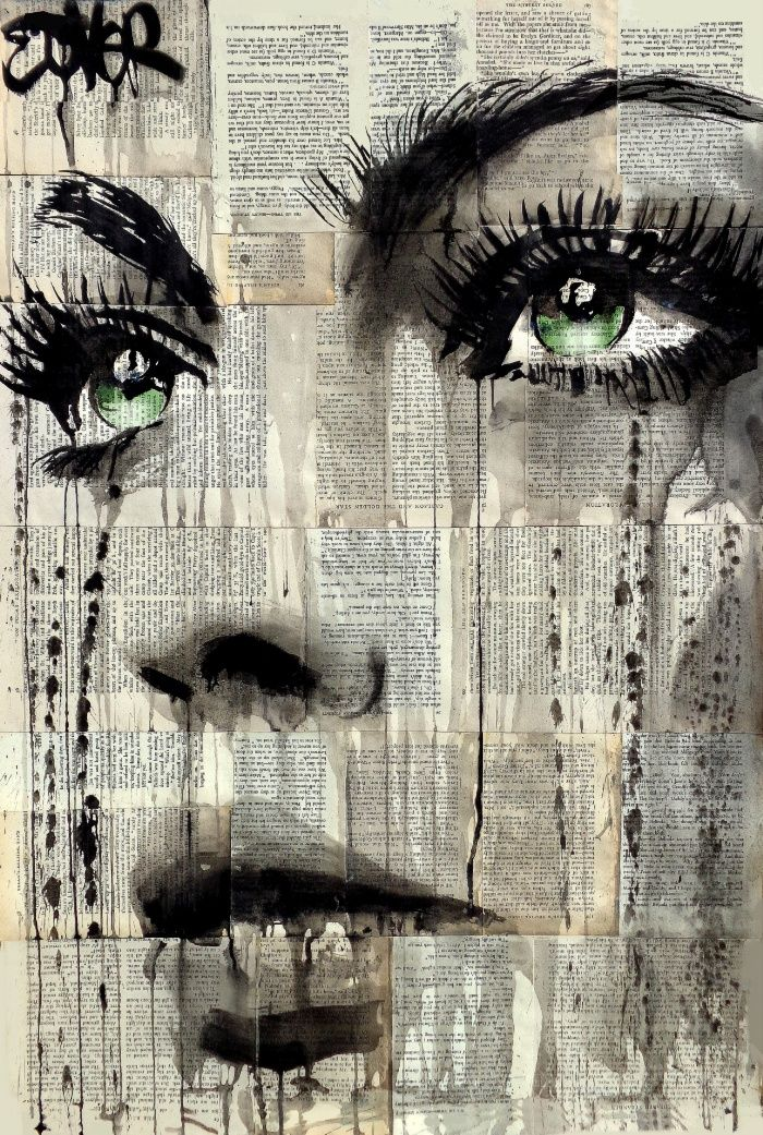 Sunday's Society6 - mixed media artwork, painted face on top of old newspapers #art #society6 #face #paint #art
