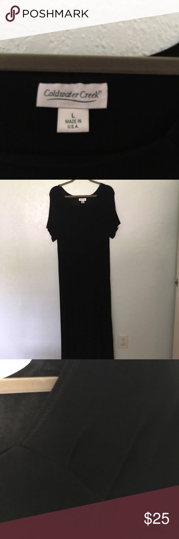 Dress Black Coldwater Creek Dress.  Perfect for traveling, pull on, lots of stretch. Pack and wear, does not wrinkle.  Add a belt or scarf, great for all seasons. Coldwater Creek Dresses Maxi