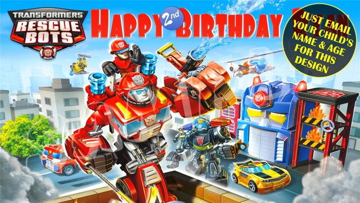 Transformers Rescue Bots Personalized Birthday Banner with free printable DIY Invitation - Just email child's name age photo for any design by GraphicMagicDesigns on Etsy https://www.etsy.com/listing/99342433/transformers-rescue-bots-personalized