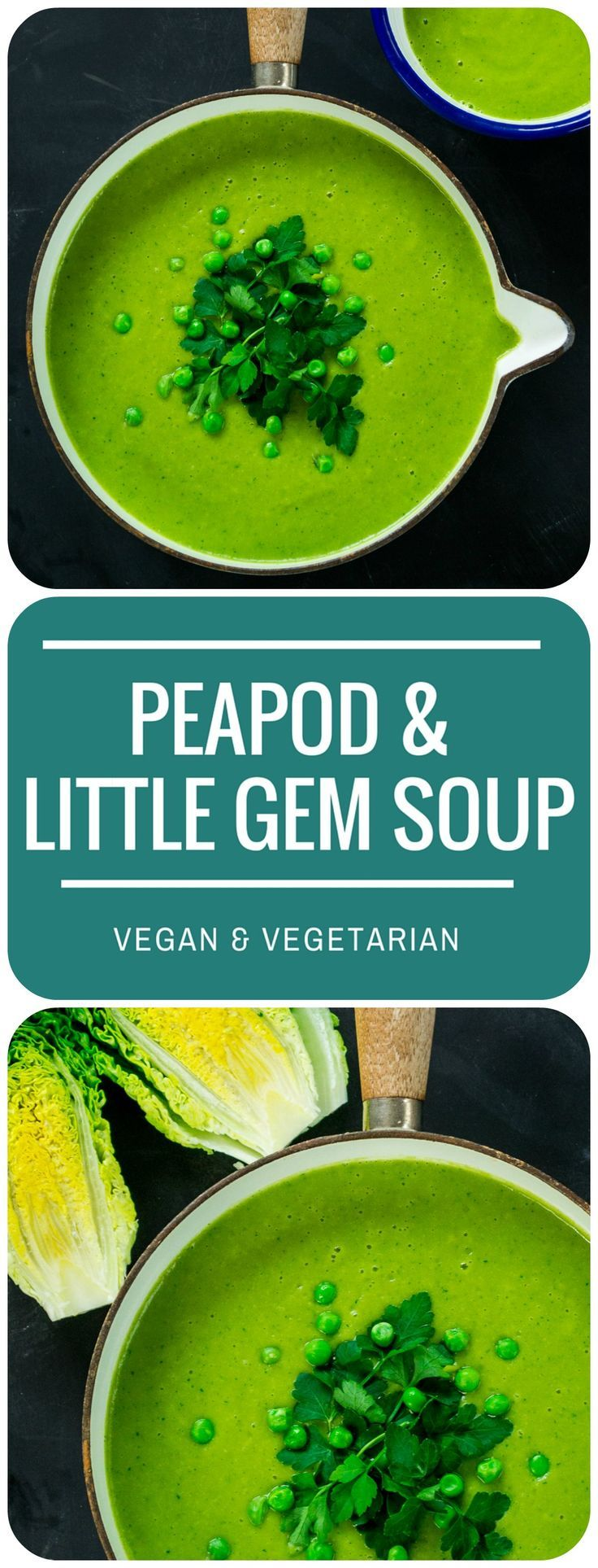 Wow! This Peapod & Little Gem Soup is so vibrantly green - what a fab soup to serve to friends & family.  It is velvety smooth & creamy despite being dairy-free and super-healthy - tastes like it has a tub of double/heavy cream in it! Vegan & vegetarian