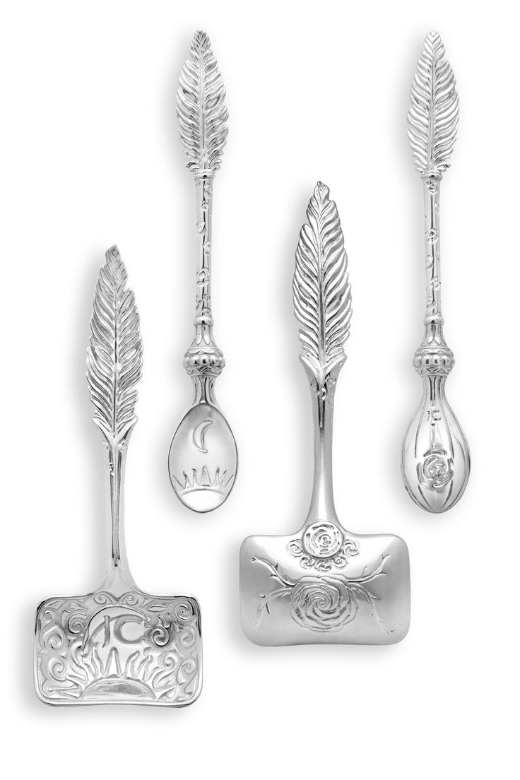 Assorted feather sugar and teaspoons