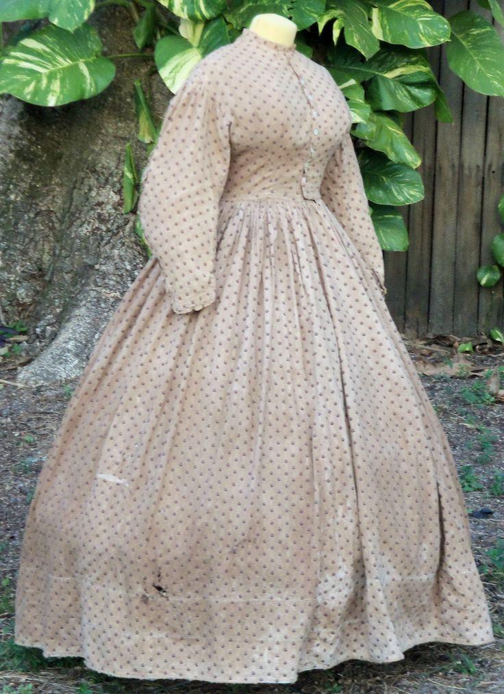 Wonderful cotton work dress c.1862 in K Krewer collection