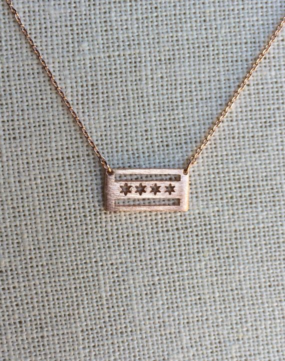 Chicago Flag Necklace - Rose Gold by loveemilyd. Explore more products on http://loveemilyd.etsy.com