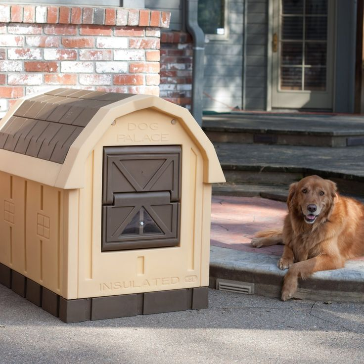 Treat your pet like royalty with the Dog Palace Insulated Dog House. This deluxe dog house features real EPS Foam insulation in the walls and ceiling and a self-closing door to provide significant protection against the elements. The lower door panel has a window so your dog can see out while resting comfortably. Self-storing window …