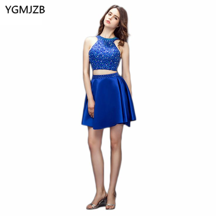 Find More Cocktail Dresses Information about Royal Blue Two Piece Cocktail Dresses 2018 New Fashion A Line Halter Open Back Beaded Crystal Short Dress Party Cocktail Dress,High Quality crystal short dress,China cocktail dresses Suppliers, Cheap cocktail dress fashion from Shop1404230 Store on Aliexpress.com