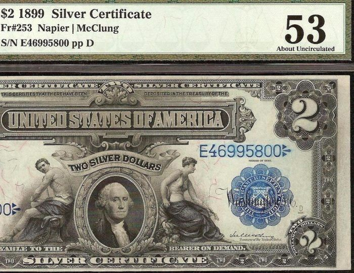 Just Listed! 1899 $2 TWO DOLLAR BILL BIG SILVER CERTIFICATE LARGE CURRENCY NOTE Fr 253 PMG AU https://www.paper-money-collector.com/product/1899-2-two-dollar-bill-big-silver-certificate-large-currency-note-fr-253-pmg-au/#PaperMoney #UnitedStates #Silver