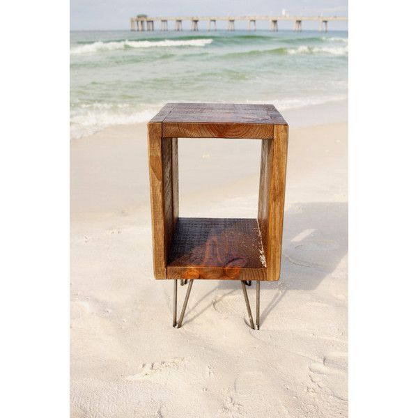 Reclaimed Wood End Table Night Stand Side Table Plant Stand Reclaimed... ($149) ❤ liked on Polyvore featuring home, furniture, storage & shelves, nightstands, bedroom furniture, home & living, red, vanities & nightstands, red nightstand and salvaged wood furniture