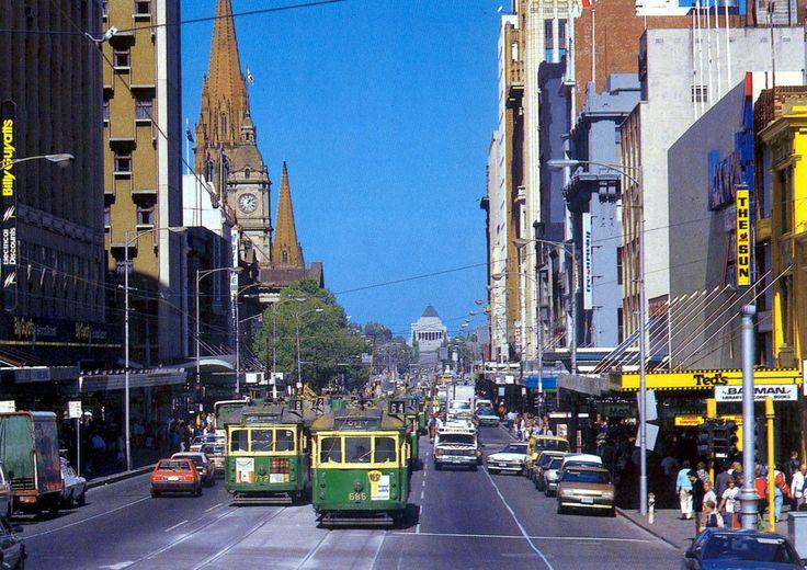 Swanston Street, Melbourne, 1980s.