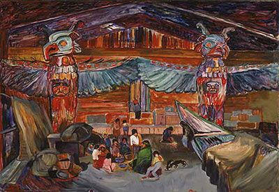 Emily Carr,  Indian House Interior with Totems Fine Art Reproduction Oil Painting