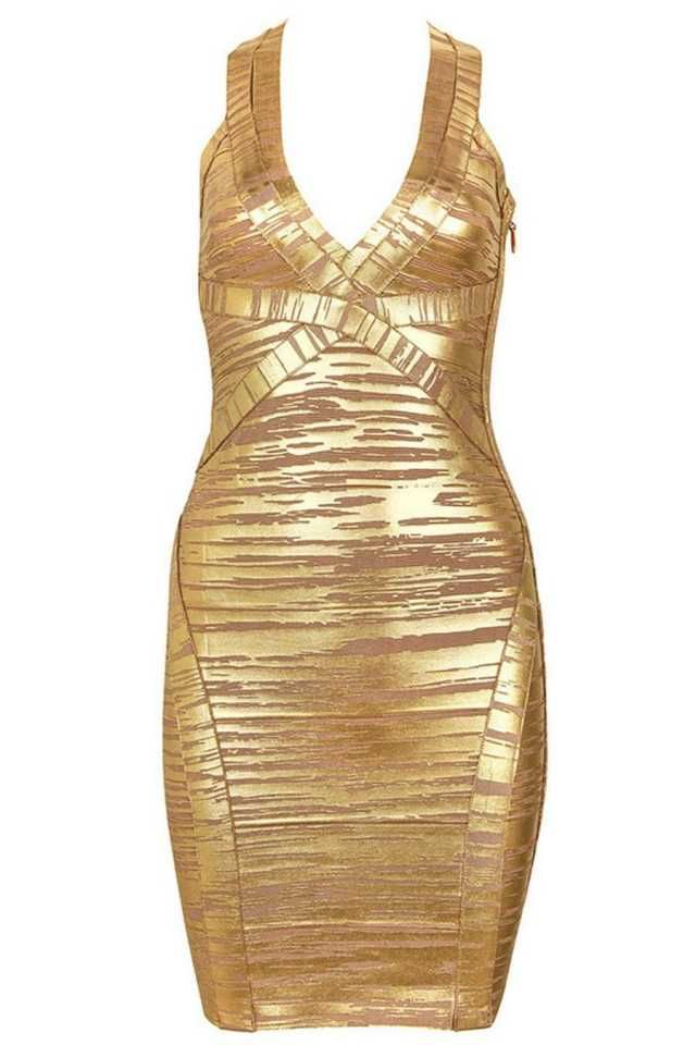 • Sexy figure hugging style • Halter neckline • Celeb look • Zip up back • Gold foil effect material sucks you in • Delicate style • Limited Edition Collection • Made from our signature heavyweight fabric • Model wears size S From Australian Designer Label Honey Couture