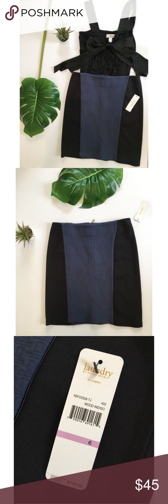 Laundry by Shelli Segal Black Blue Pencil Skirt New with tags! Never worn. Blue and black pencil skirt by Laundry by Shelli Segal. Quilted blue accented with black and faux leather black trim. Great as business casual work wear or can be dressed up. Laundry By Shelli Segal Skirts Pencil