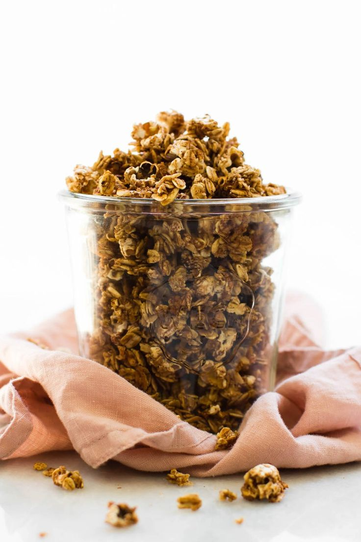 Complete: Popcorn Granola: 1 1/2 cups rolled oats 2 cups air popped popcorn (see video for an easy DIY microwave method) 2/3 cup maple syrup 1/2 tsp salt 1 tsp cinnamon (optional)