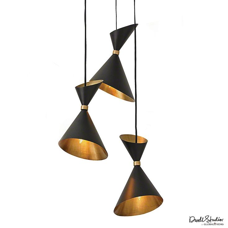 """Cone Brass Pendant is a chic addition to any room. Clustered together, the sculptural three-in-one fixture sets a minimalist mood with tapered black and brass cones.  Holds three 60W """"A"""" lamp bulbs Cord is adjustable with a maximum length of 93""""H"""