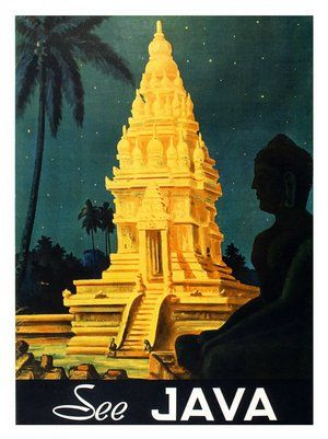 #ridecolorfully under the stars in Java to find Prambanan temple! {vintage Indonesian travel poster} #Java #Indonesia #vintagetravel