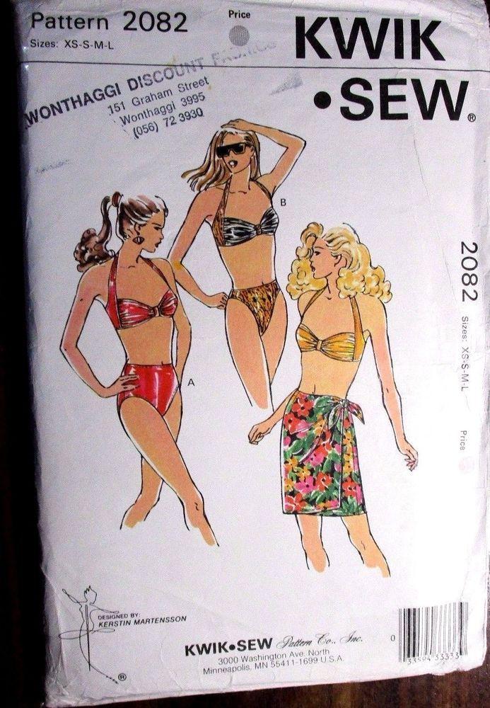 KWIK * SEW LADIES SWIMMING COSTUMES SEWING PATTERN NO. 2082 SIZE XS - L UNCUT #KWIKSEW