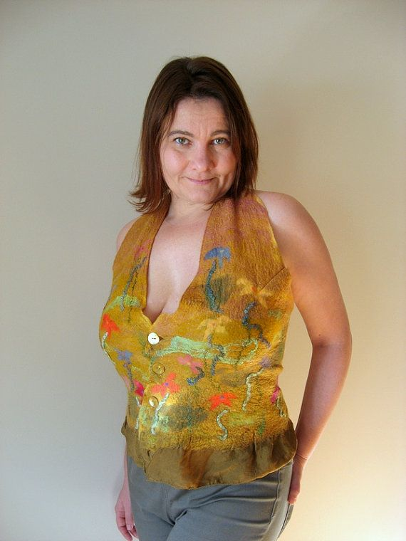 Felted Faerie Vest  Meadow  mixed merino wool and by realfaery