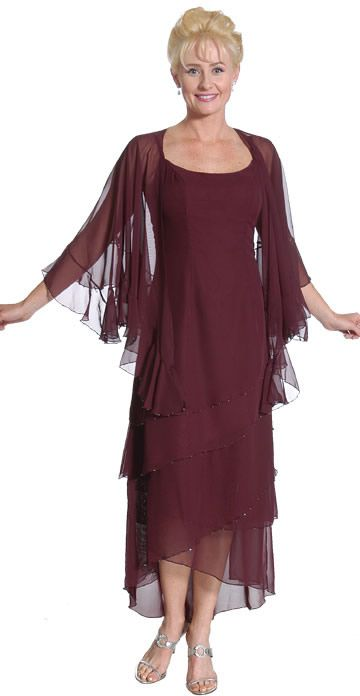 Tea length mother of the bride dresses with jackets, modest and elegant
