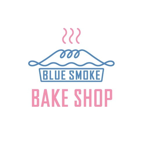 """this is a nice design overall. I like the representation of the pie top with the contrasting square design of the """"blue smoke"""" words underneath, leading to the larger typeface in a different color stating Bake Shop. clever little design, I think the colors are nice. well done"""