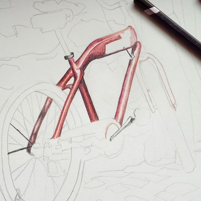 Find picture that inspires you. I found @rajbose1 beautiful bike photograph. I start drawing lines. Somethimes drawing is easier when you look at picture upside down when you are drawing. Thats how you have to draw only lines and forms. Think while you are drawing only how the lines are going not bike or what ever you are drawing. #howtodraw #susmanart #pencildrawing