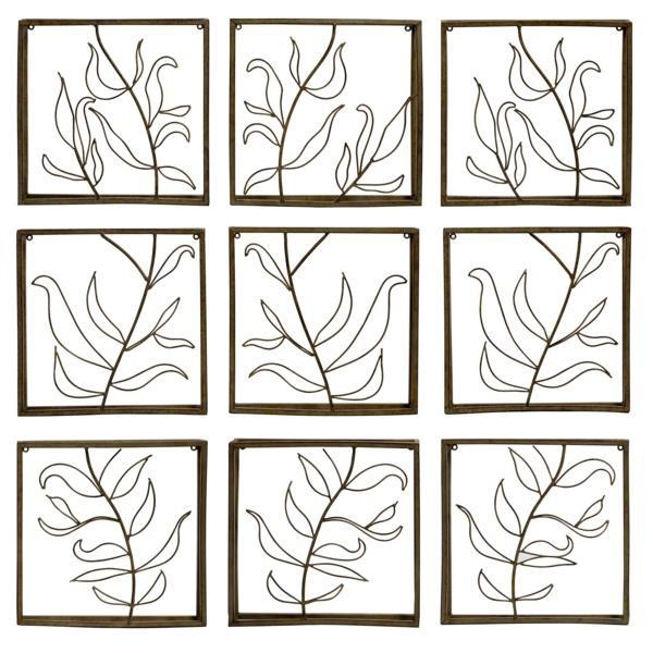 """Vine Wall Decor Panels - Set of Nine Complementary Iron Wall Décor Panels featuring a Cut Out Vine Pattern. Material: Wrought iron 100%. 14.75""""h x 14.5""""w x 2.5"""