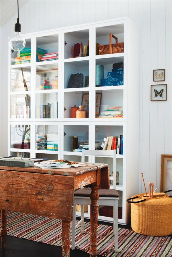 I want a cabinet like that for my studio space. Not to mention that gorgeous table with the folding leafs.